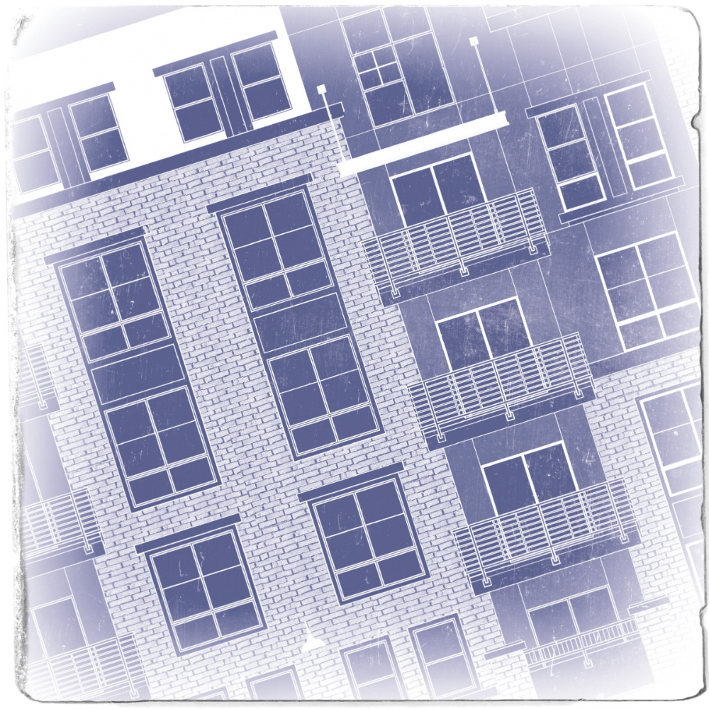 Blueprint styled image of a Luxury Apartment elevation.