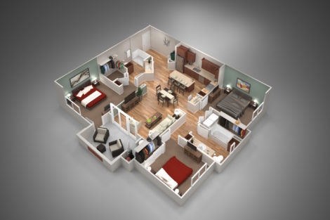 Birds-eye view 3d rendering of a 3 bedroom apartment interior.