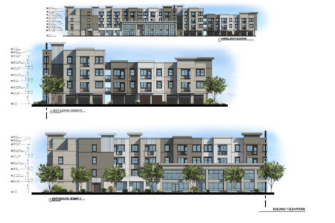 Rendered elevations for the District at Chandler Apartments project, located in Chandler, Arizona