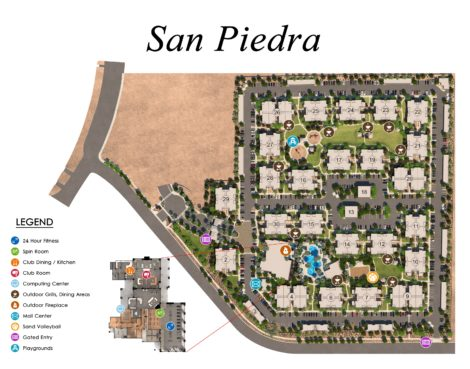 Rendered Community / Amenity Map for San Piedra luxury apartments, by Mark-Taylor Residential.